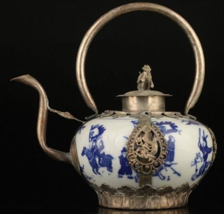 Teapot, blue, white and silver