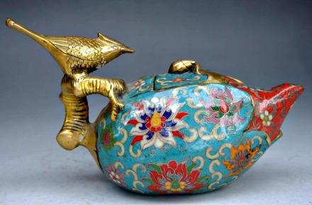 Teapot silver bird, cloisonne